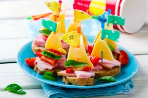 ham and cheese sandwiches in the form of ships